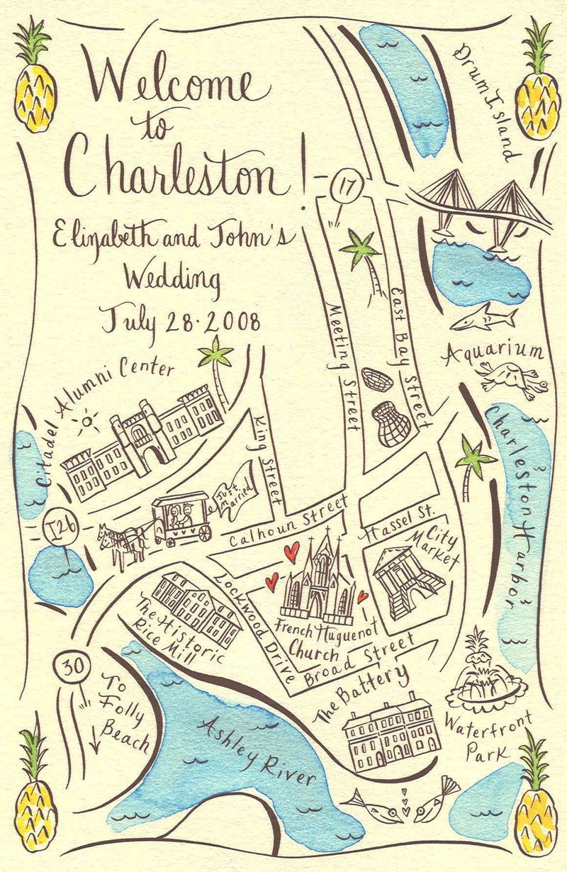 Unique Wedding Maps From Ceremony To The Reception