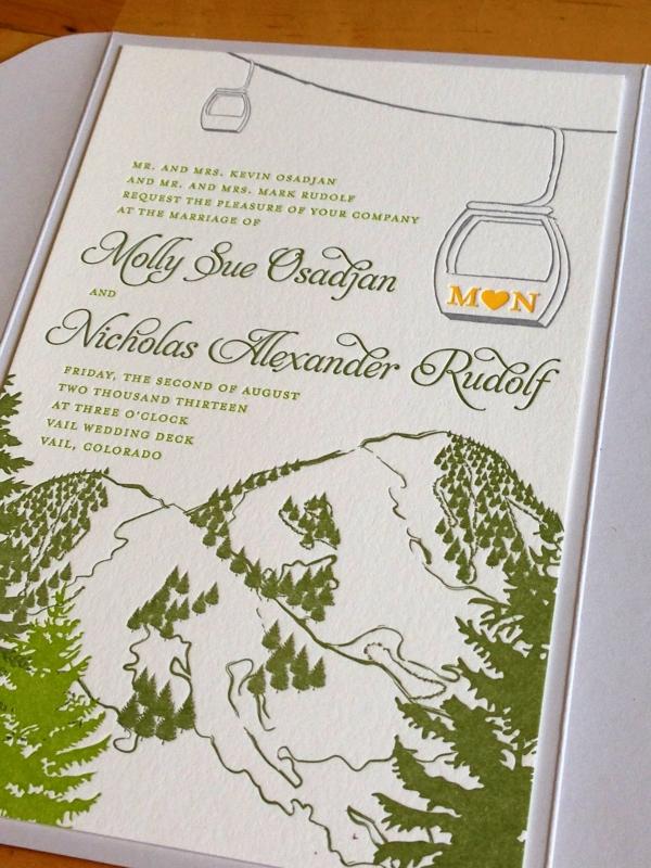 cloud 9_letterpress_mountain_gondola_wedding_invitation_ 600x800 cloud 9_craft paper_letterpress wedding invitation - Mountain Wedding Invitations
