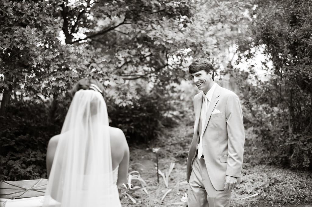 first look_black white_garden wedding