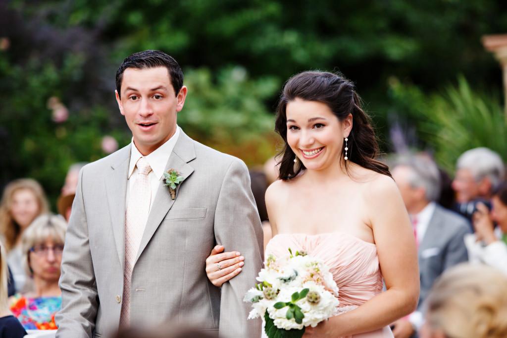 gray suit_peach bridesmaids_garden wedding