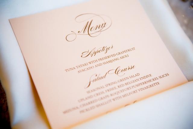 Cloud 9 blush wedding menu