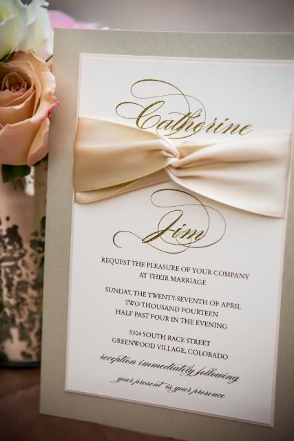 ivory and blush wedding invitation